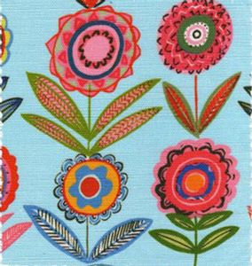 Cut Flowers Blue 68cms- Medium- Bright Fabric for Curtains and Blinds